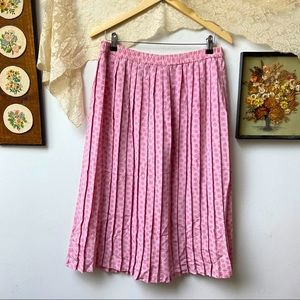 Vtg Rose Print Pleated Midi Skirt